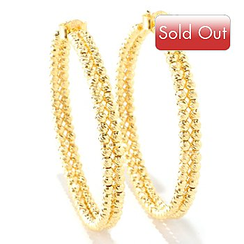 126-135 - Scintilloro™ Gold Embraced™ Diamond-Cut Double Bead Hoop Earrings