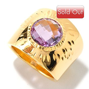 126-140 - Scintilloro™ Gold Embraced™ 2.40ctw Faceted Amethyst Cigar Band Ring