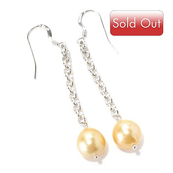 126-150 - Sterling Silver 9-11mm Golden South Sea Cultured Pearl Drop Earrings
