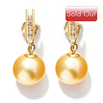 126-153 - 14K Gold 9-10mm Round Golden South Sea Cultured Pearl & Diamond Earrings
