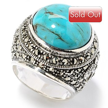 126-190 - Dallas Prince Sterling Silver Turquoise Ring Made w/ Swarovski® Marcasite