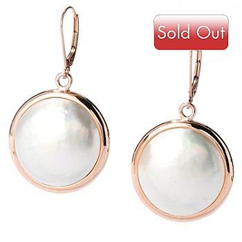 126-192 - 14K Rose Gold 20mm White Cultured Mabe Pearl Coin Earrings