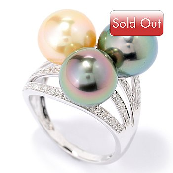 126-199 - 14K White Gold 9-11mm Tri-Color Exotic Cultured Pearl & Diamond Ring