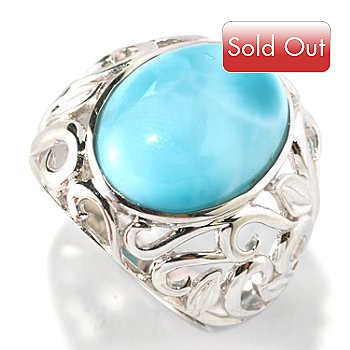 126-206 - Gem Insider Sterling Silver 16 x 12mm Oval Larimar Vine Ring