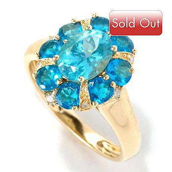 126-265 - Gem Treasures 14K Yellow Gold 2.93ctw Blue Apatite & Diamond Ring