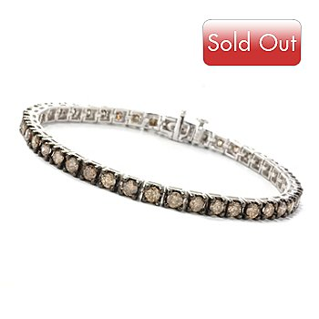 126-297 - Diamond Treasures Sterling Silver Champagne Diamond Tennis Bracelet