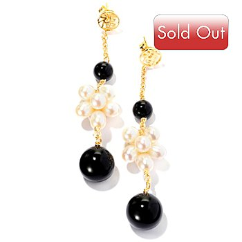 126-314 - 4 x 6mm White Freshwater Cultured Pearl & Black Onyx Drop Earrings
