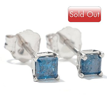 126-343 - Diamond Treasures 14K White Gold 0.25ctw Blue Diamond Square Stud Earrings