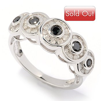 126-374 - Diamond Treasures Sterling Silver 0.50ctw Black & White Diamond Circle Ring