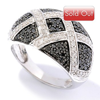 126-387 - Diamond Treasures Sterling Silver 1.00ctw Black & White Diamond Crisscross Ring