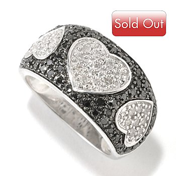 126-396 - Diamond Treasures Sterling Silver 0.75ctw Black & White Diamond Heart Ring