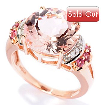 126-432 - Gem Treasures 14K Rose Gold 5.34ctw Morganite, Pink Tourmaline & Diamond Ring