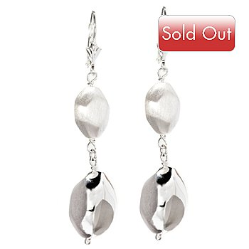 126-441 - SempreSilver™ Polished & Satin Finished Nugget Dangle Earrings