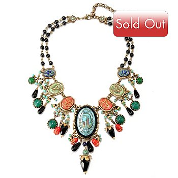 126-522 - Sweet Romance™ 16'' Gold-tone Egyptian Inspired Carved Glass Necklace