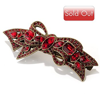 126-532 - Sweet Romance™ Gold-tone Red Crystal Bow Barrette