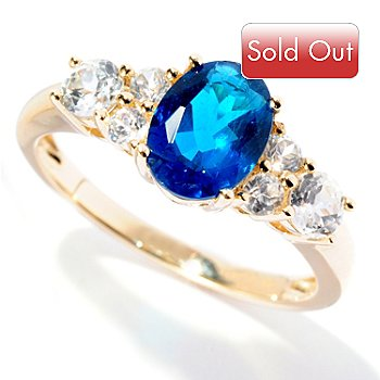 126-635 - Gem Treasures 14K Gold 1.40ctw Neon Blue Apatite & White Zircon Ring