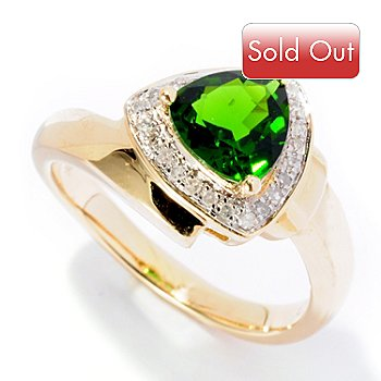 126-638 - Gem Treasures 14K Gold 0.99ctw Trillion Shaped Chrome Diopside & Diamond Ring