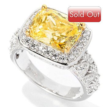 126-642 - Brilliante® Platinum Embraced™ 3.97 DEW Two-Tone Cushion Cut Halo Ring