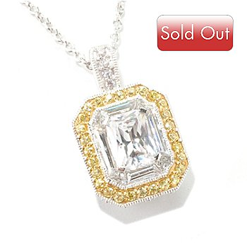 126-643 - Brilliante® Platinum Embraced™ 3.90 DEW Two-tone Emerald Cut Pendant w/ Chain