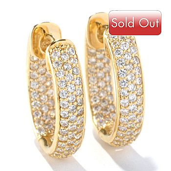 126-685 - Sonia Bitton for Brilliante® 1.14 DEW Pave Set Oval Huggie Hoop Earrings