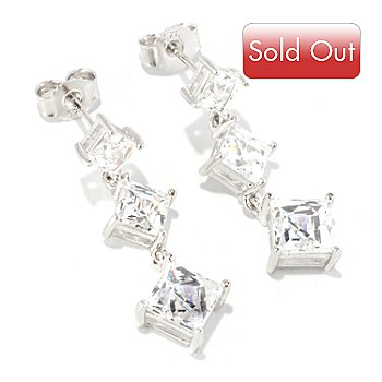126-711 - TYCOON for Brilliante® Platinum Embraced™ 4.72 DEW Square Cut Three-Stone Dangle Earrings