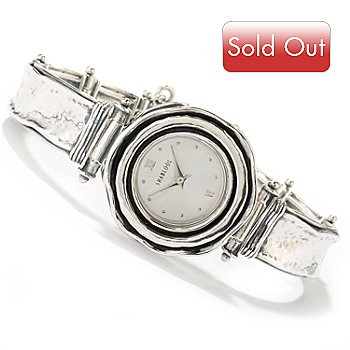 126-738 - Passage to Israel Sterling Silver Hammered Detail Women's Watch