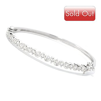 126-762 - Brilliante® Platinum Embraced™ 2.97 DEW Swirl Hinged Bangle Bracelet