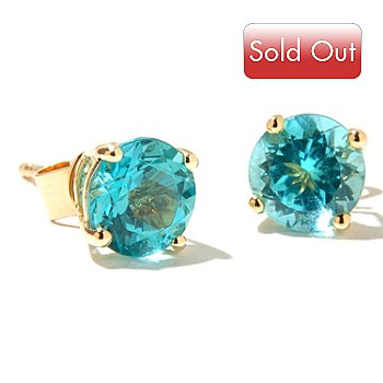126-845 - Gem Treasures 14K Gold 6mm Round Apatite Stud Earrings