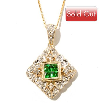 126-848 - Gem Treasures 14K Gold 0.82ctw Tsavorite & Diamond Pendant w/ Chain