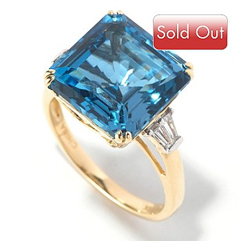 126-850 - Gem Treasures 14K Gold 9.11ctw Square London Blue Topaz & Diamond Ring