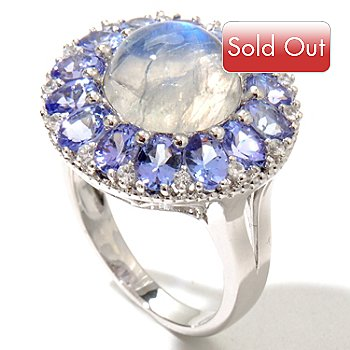 126-851 - Gem Insider Sterling Silver 10mm Round Moonstone & Gemstone Ring