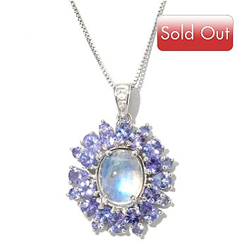 126-852 - Gem Insider Sterling Silver 8 x 10mm Oval Moonstone & Gemstone Pendant w/ Chain