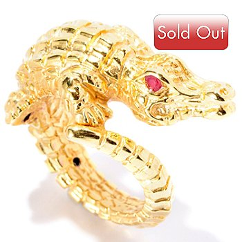 126-917 - Italian Designs with Stefano 14K ''Oro Vita'' Electroform Ruby Crocodile Ring