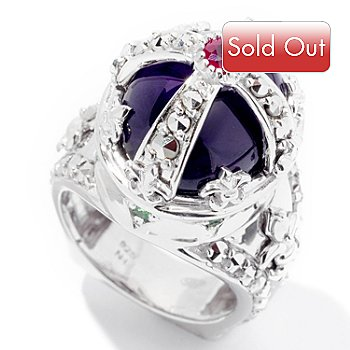 126-947 - Marcasite by Dallas Prince Sterling Silver 9.99ctw Amethyst & Gemstone Ring