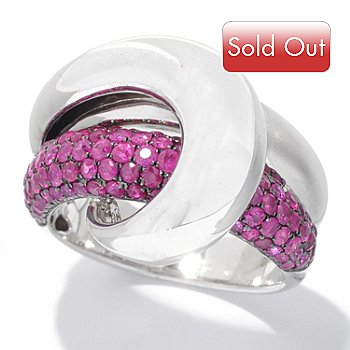 126-954 - EFFY Sterling Silver 2.30ctw Ruby Curved Crossover ''Balissima'' Ring