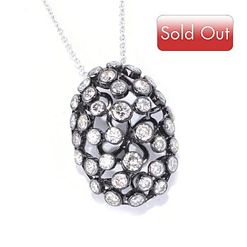 126-962 - EFFY 14K White Gold 1.00ctw Scattered Diamond Oval Pendant w/ Chain