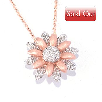 126-963 - EFFY 14K Rose & White Gold 0.25ctw Diamond Flower Pendant w/ 18'' Chain