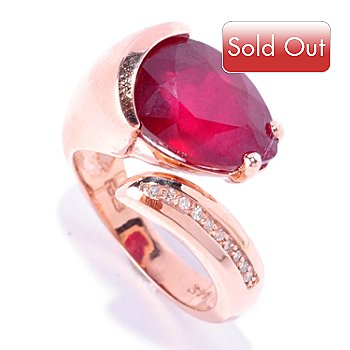 126-969 - EFFY 14K Rose Gold 6.50ctw Innova™ Ruby & Diamond Bypass Ring