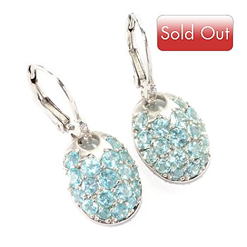 126-986 - Gem Insider Sterling Silver 2.22ctw Apatite & White Sapphire Leverback Earrings