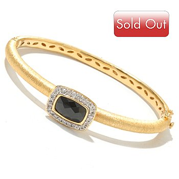 127-053 - Michelle Albala 12 x 8mm Black Spinel & White Sapphire Bangle Bracelet