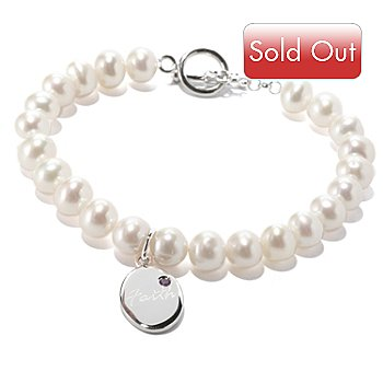 127-069 - Sterling Silver 7.75'' Freshwater Cultured Pearl & Gemstone Word Charm Bracelet