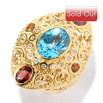 127-121 - Dallas Prince Designs 4.56ctw Swiss Blue Topaz & Gemstone Marquise Shaped Ring