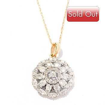 127-145 - Diamond Treasures 14K Gold 1.00ctw Diamond Flower Pendant w/ Chain