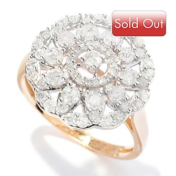 127-146 - Diamond Treasures 14K Gold 1.00ctw Diamond Round Flower Ring