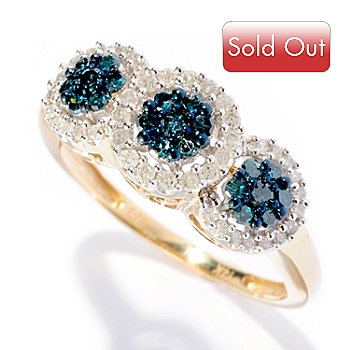 127-148 - Diamond Treasures 14K Gold 0.51ctw Blue & White Diamond Circle Ring