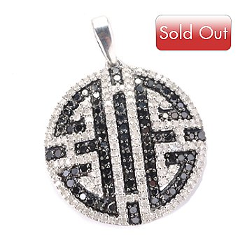 127-156 - Diamond Treasures Sterling Silver 1.19ctw Black & White Diamond Geometric Pendant