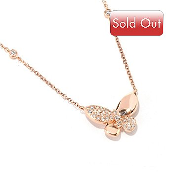 127-204 - EFFY 14K Rose Gold 18'' Diamond Butterfly Necklace