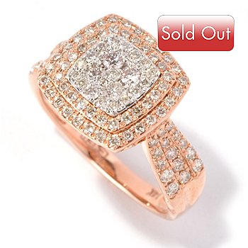 127-205 - EFFY 14K Rose & White Gold 0.70ctw Diamond Square Ring