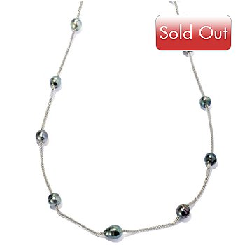 127-243 - Stainless Steel 42'' 9-10mm Peacock Tahitian Cultured Pearl Station Necklace