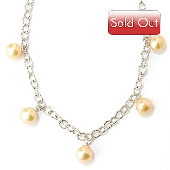127-244 - Sterling Silver 18'' 11-12mm Golden South Sea Cultured Five Pearl Necklace